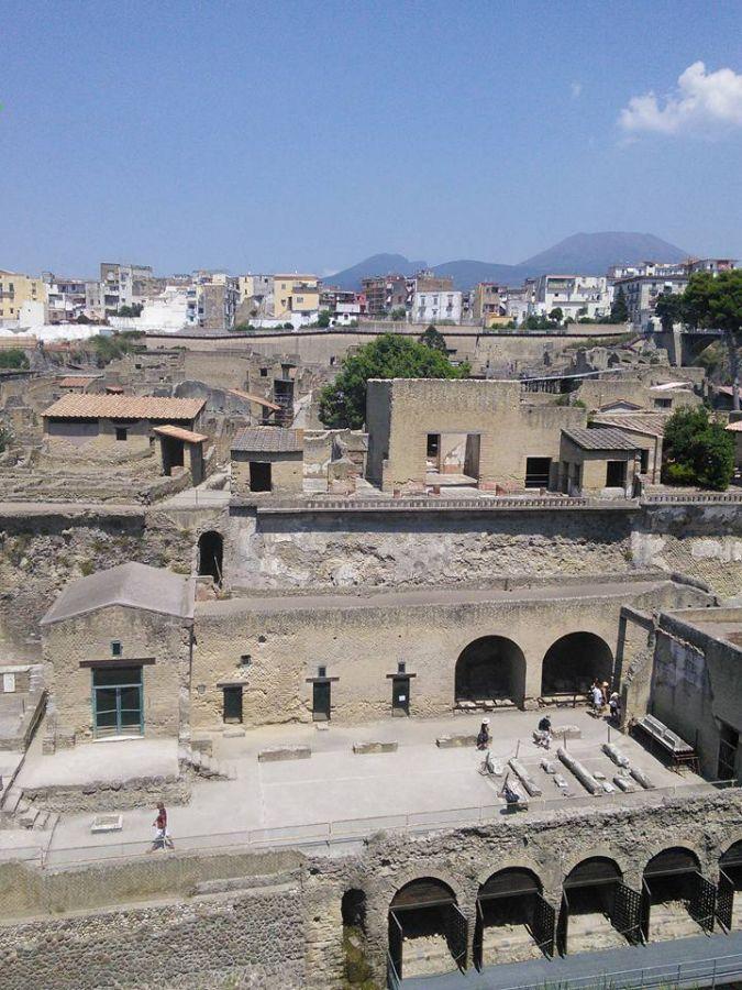 view of Herculaneum below modern city